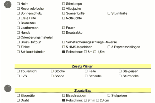 checkliste Bergrettung vor Abmarsch